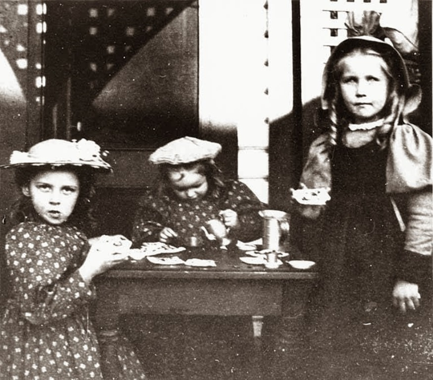 three-girls-having-tea-party-at-grace-mcmonagles-house-probably-seattle-washington
