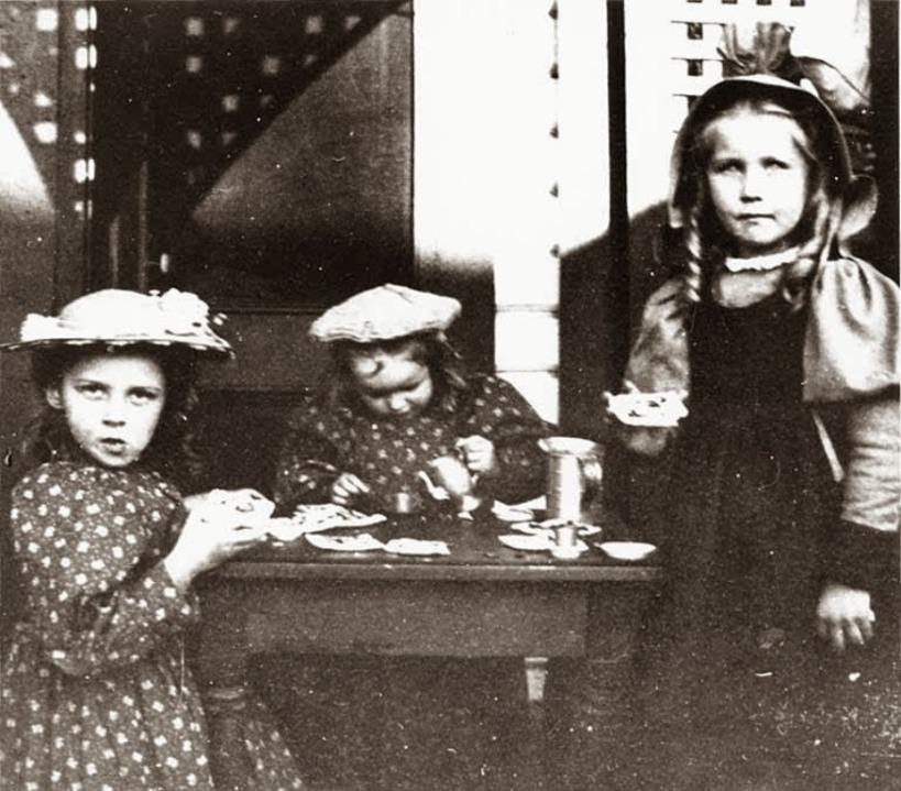 three-girls-having-tea-party-at-grace-mcmonagles-house-probably-seattle-washington