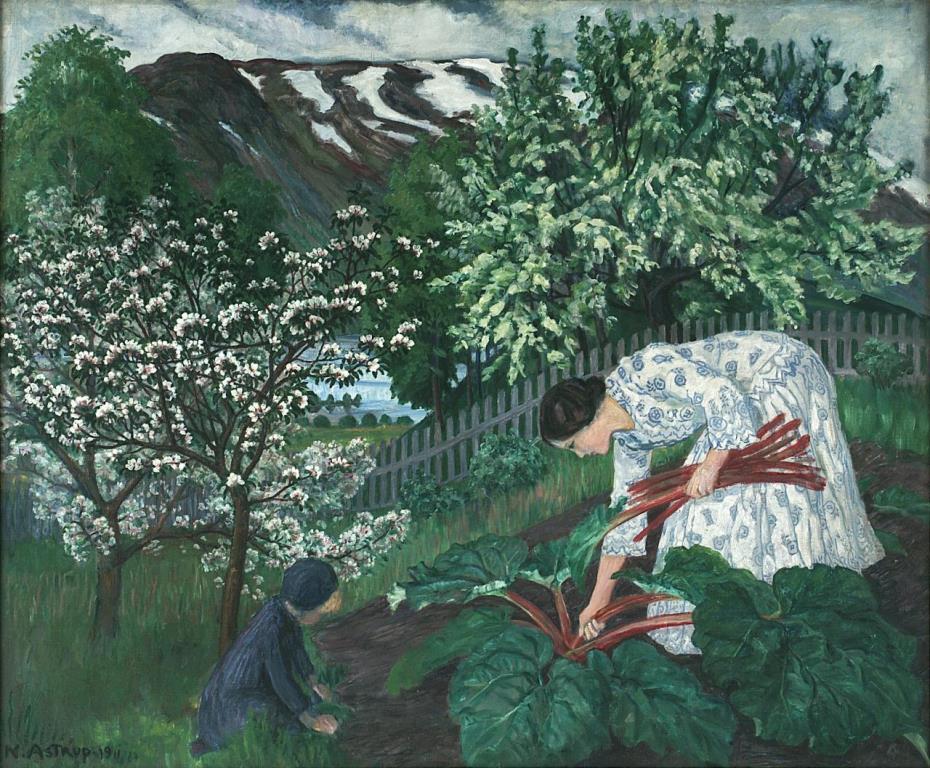 Rabarbra or Wife Engel picking Rhubarb via Wikimedia