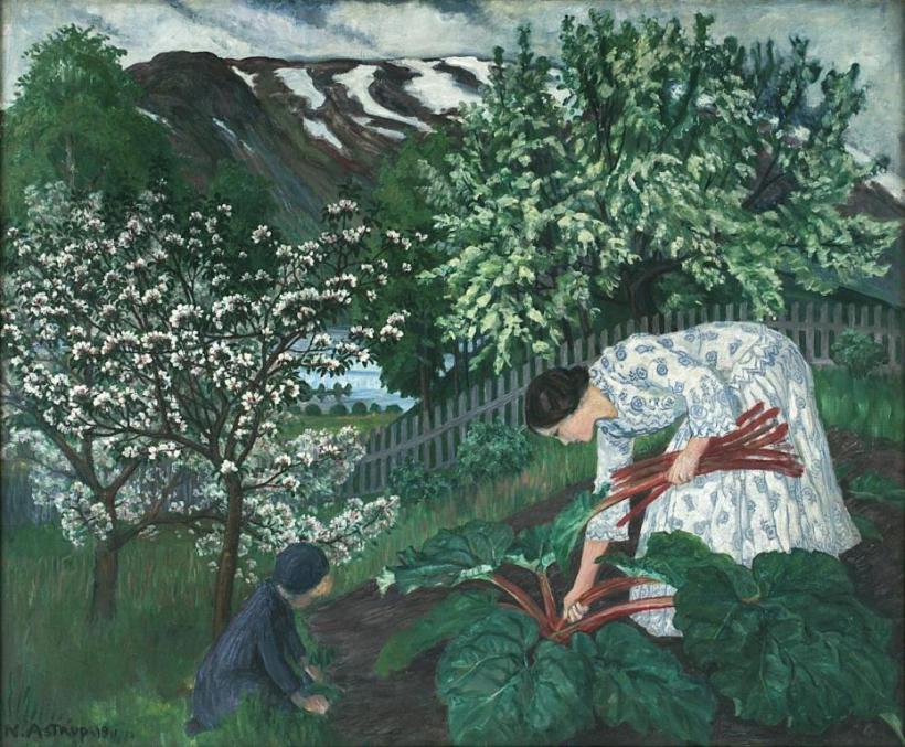 Rabarbra or Wife Engel picking Rhubarb via Wikimedia