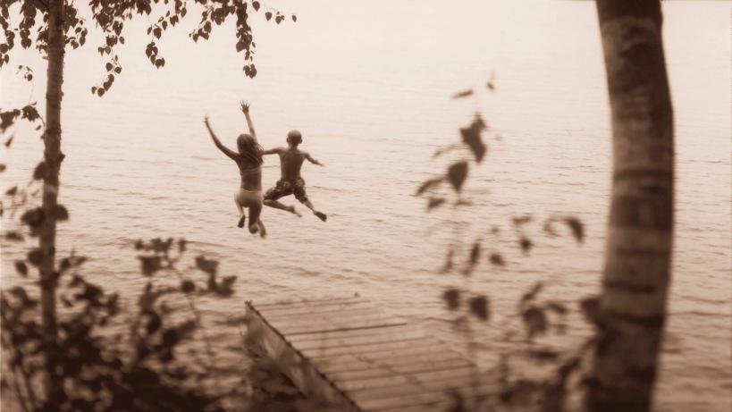 Kids Jumping into Lake Chippewa