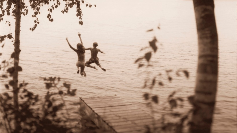 Kids Jumping into Lake Chippewa