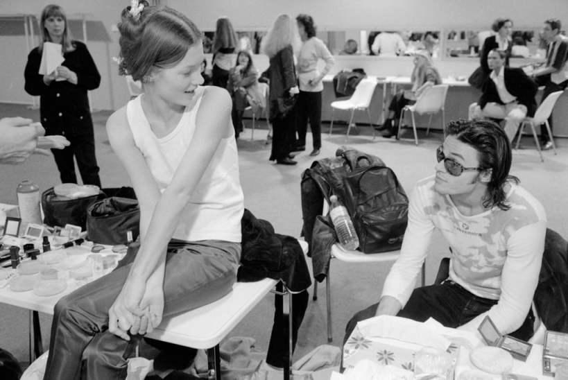 Backstage-Paris-Fashion-Week-1991-wearing-jeans-white